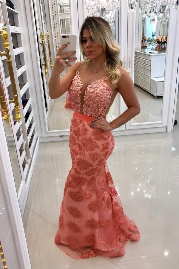 2020 Scoop Lace Mermaid Prom Dresses With Beads And P7F37MNZ