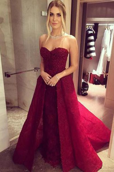 Long Sweetheart A-line Chic Burgundy Prom Dresses with Over skirt Lace Beaded
