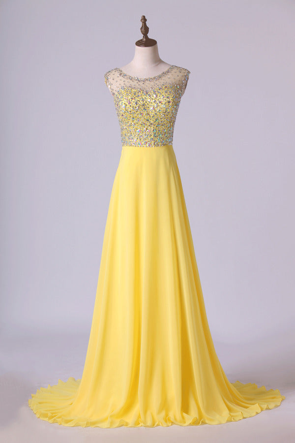 Blusher Prom Dress Scoop Beaded Tulle Bodice Backless Chiffon With Sweep P895LTLX