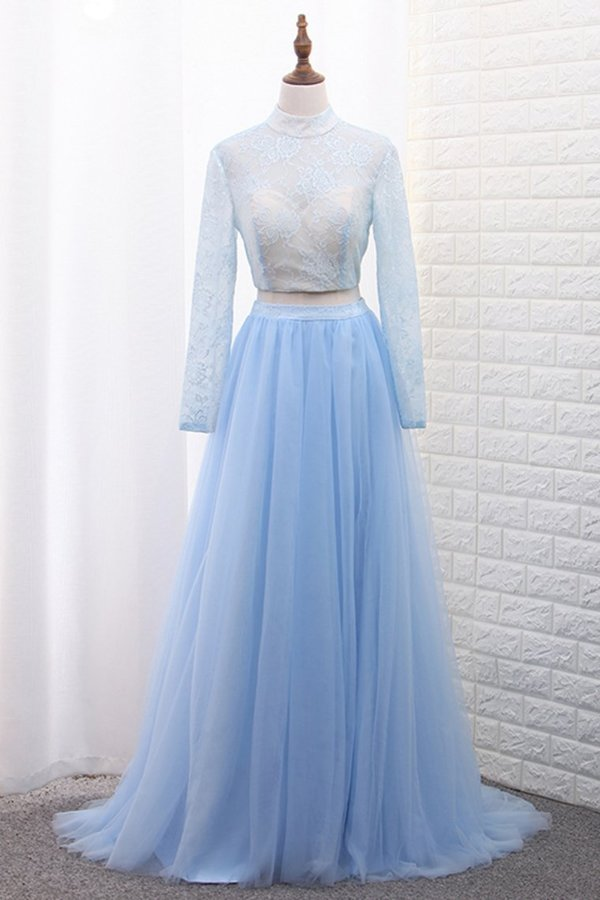 Two-Piece High Neck Evening Dresses Tulle & Lace With Slit PCCE3HMM