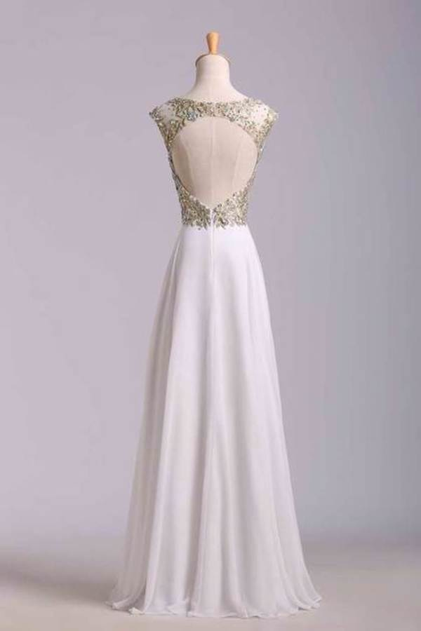 Scoop Neckline Off The Shoulder Prom Dresses White Floor Length Chiffon With PKQF7YNN