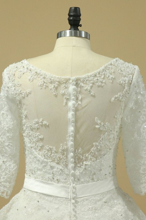 2020 Scoop Mid-Length Sleeves Wedding Dresses A Line Tulle With Applique PP1XQ7YL