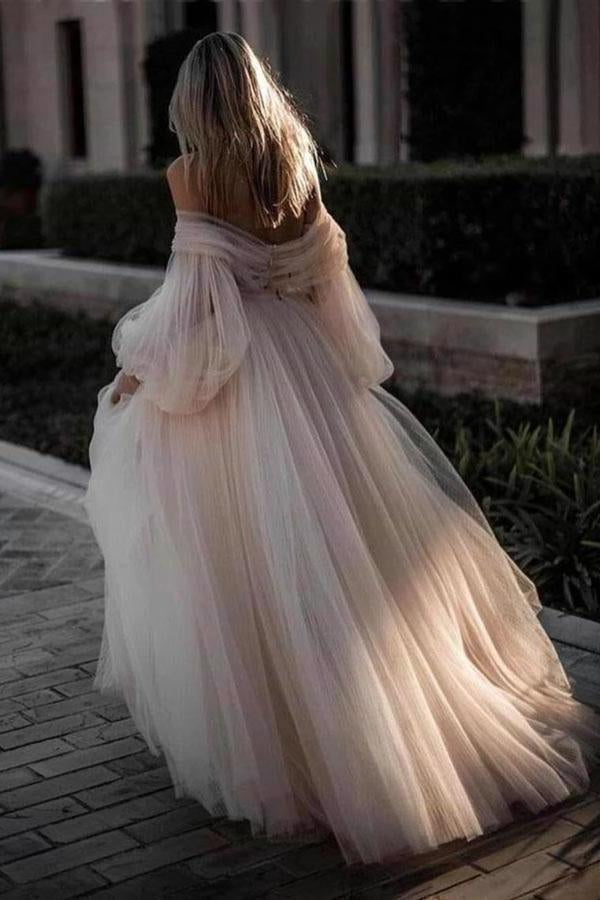 Princess Long Puff Sleeves Off The Shoulder Tulle Wedding Dresses Beach PY665D8X