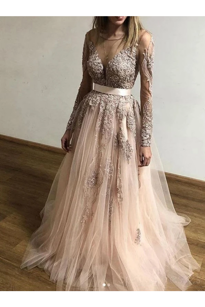 Sheer Round Neck Appliques Long Sleeves Tulle Prom Party STIP3AF4A68