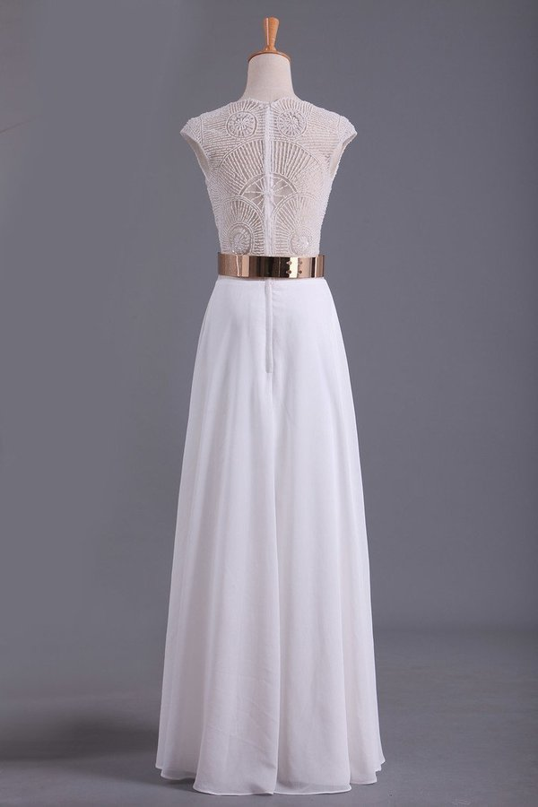 2020 White V Neck Beaded Bodice Prom Dresses A Line Chiffon With Sash PLG3K95N