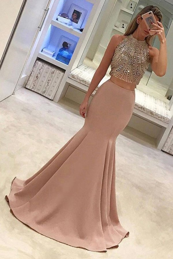 Two-Piece High Neck Beaded Bodice Prom Dresses PF3A6RX2