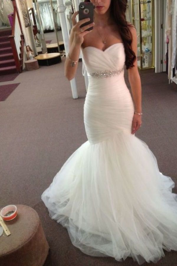 Stunning Sweetheart Mermaid/Trumpet Wedding Dresses Pleated Bodice P4NNHABA