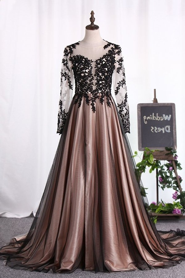 2020 Scoop Long Sleeves A Line Evening Dresses Tulle With PQKJ5QRP