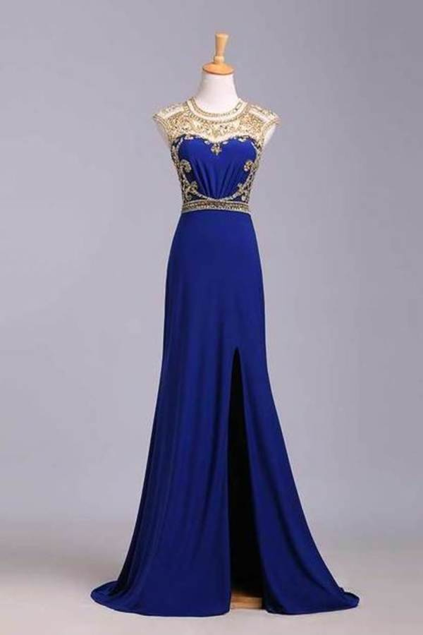 2020 Scoop Neckline Column Beaded Bodice Prom Dresses With Court Train P9327G5N