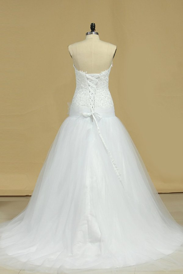Tulle Sweetheart With Applique Wedding Dresses A Line P1TQNQ1B
