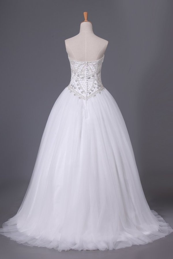 Sweetheart Tulle Wedding Dresses A Line With Beading P4E6J91H