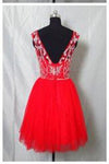 Real Made Beaded Back Zipper Short Prom Dresses New Arrival Tulle Homecoming Dresses