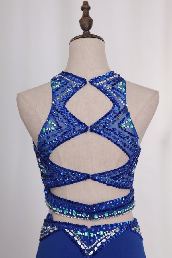 Two-Piece Scoop Spandex With Beads And Slit Prom PGGA8K9M
