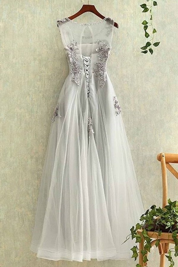 Tulle With Applique A Line Prom Dresses Scoop PZZMK973