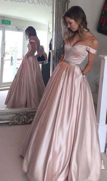 Pearl Pink A-line Off the Shoulder Sweetheart with Pockets Long Senior Prom Dresses