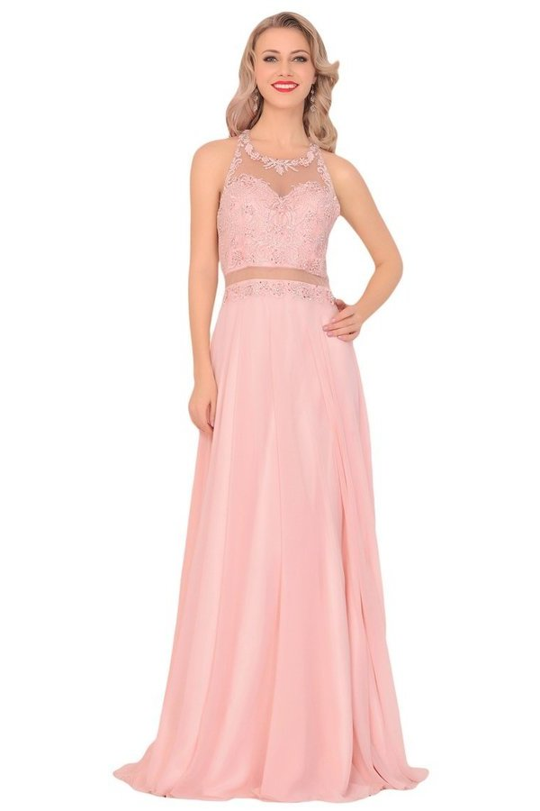 Chiffon Halter Open Back Prom Dresses With Beads And Embroidery P8MGPL5X