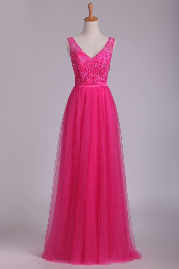 Bridesmaid Dresses V Neck A Line With Embroidery And Sash PK6D47ZG