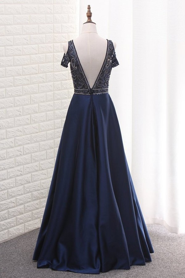 V Neck Beaded Bodice Satin A Line Open Back Floor Length PSQNCPJA