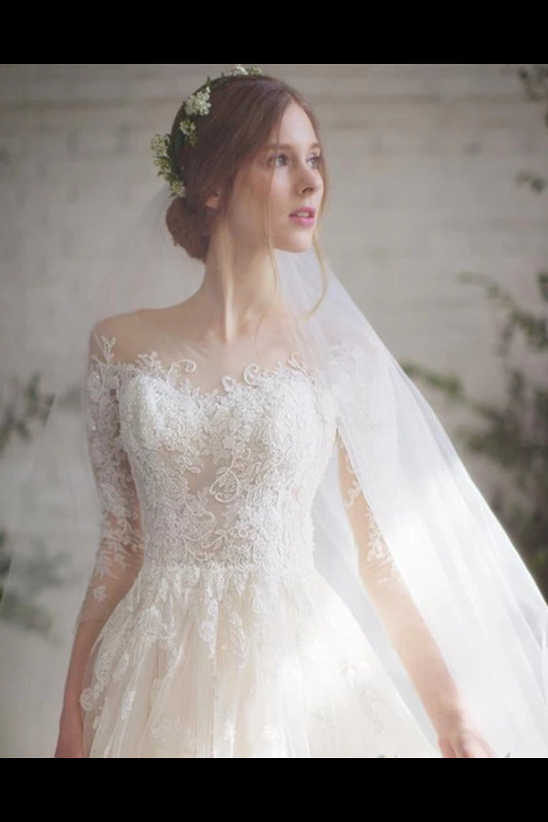 Wedding Dress With 3/4 Sleeves And Appliques PLQLKYGK