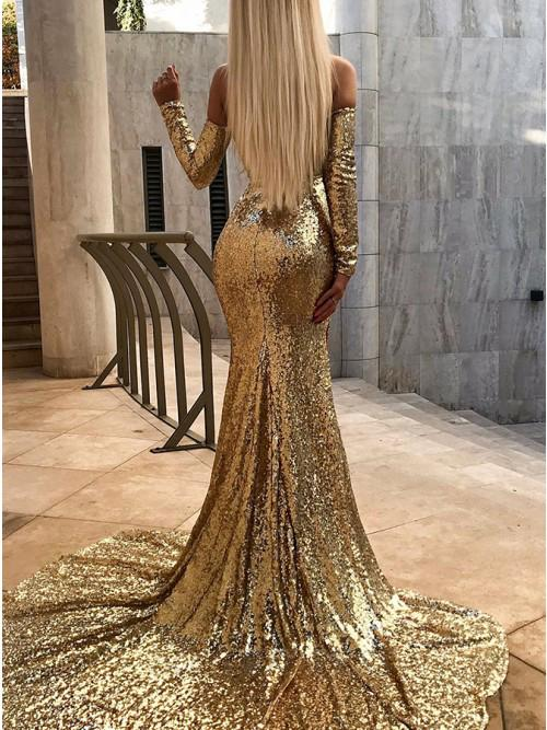 Sexy Mermaid Off the Shoulder Sequins Long Sleeves Prom Evening Dress with Split STI15596
