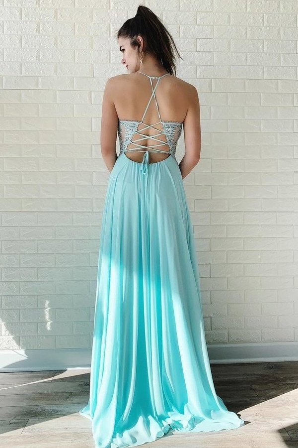 Chiffon Prom Dresses With Applique Sweep Train PH7A6QB8