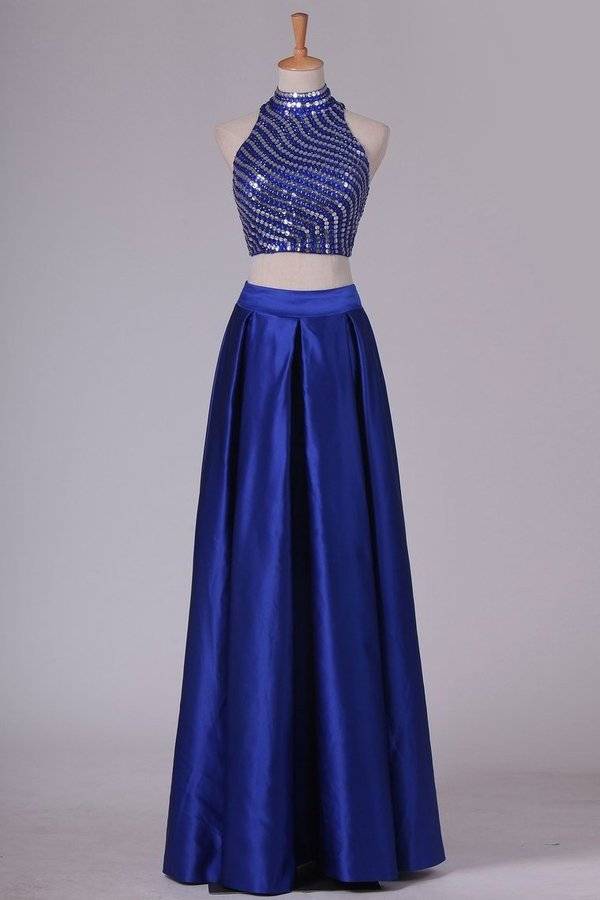 Two Pieces Prom Dresses High Neck Satin With Rhinestones PRLAX9KE