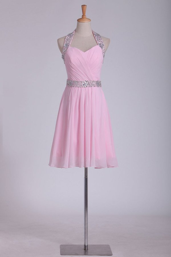 Short/Mini Halter Homecoming Dresses Chiffon With Beading PG2ZF4LD