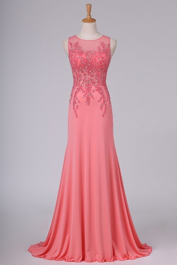 See-Through Prom Dresses Scoop Beaded Bodice Spandex PTKYE92A
