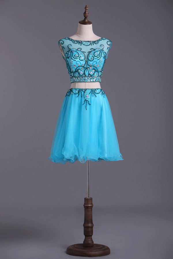Two Pieces Scoop Homecoming Dresses A Line Tulle With P4Y1G7LT