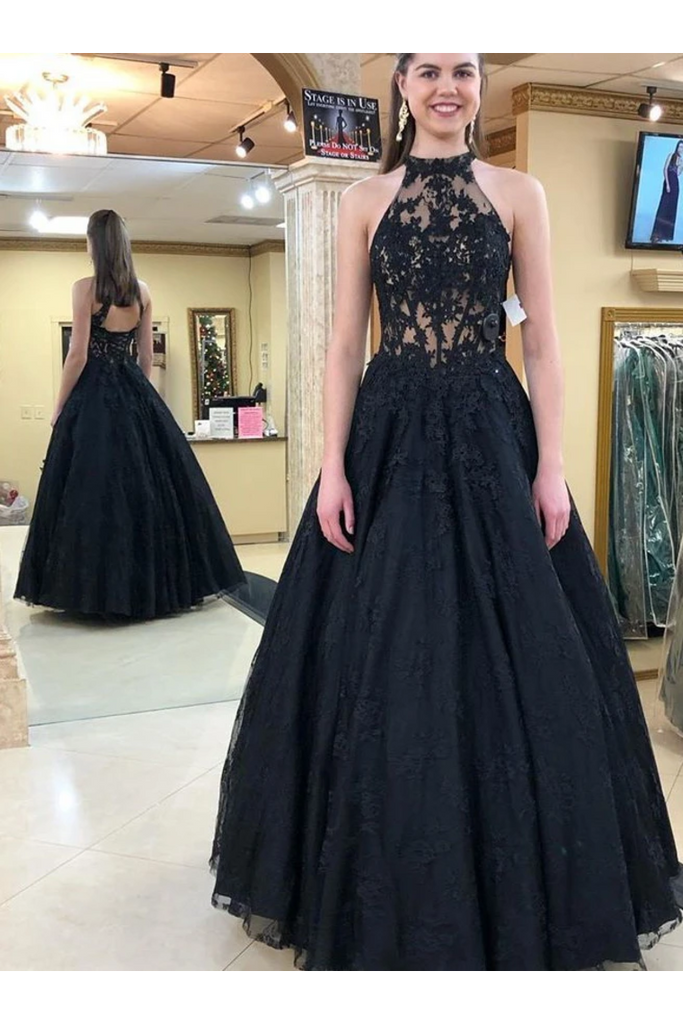Halter Neckline Black Long Prom Dresses Formal Evening Dress Tulle STIPJHYQ138