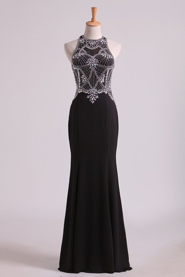 Black Prom Dresses Scoop Beaded Bodice Floor Length Spandex PSHH66J8