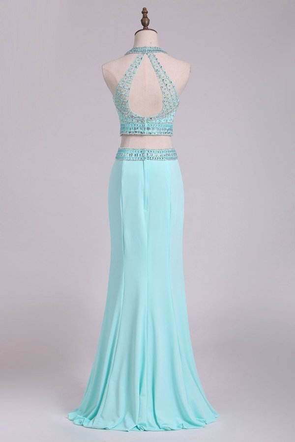 Two-Piece Halter Beaded Bodice Open Back Prom Dresses PSNMCA4C