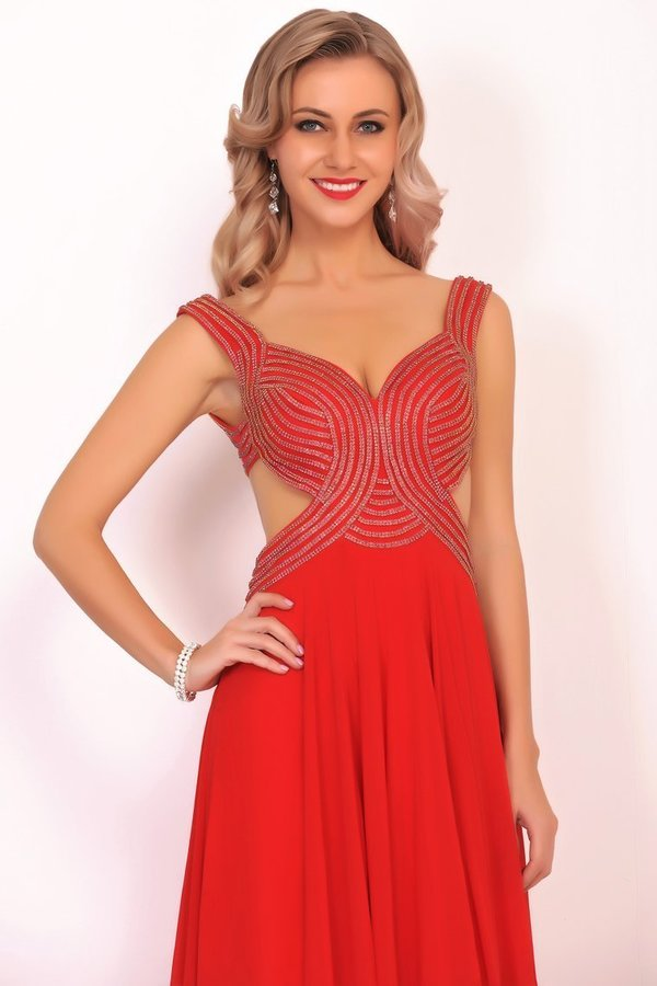 Chiffon Straps Beaded Bodice A Line Open Back Sweep Train P96K35RT