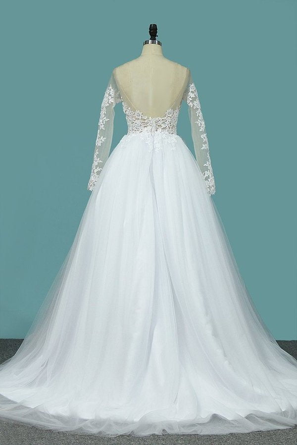 Wedding Dresses Bateau Long Sleeves A Line With Applique Tulle PR6XZPY6