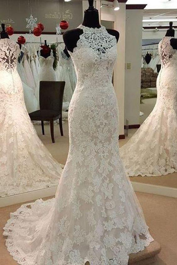 Sexy Halter Mermaid Lace-up Sleeveless Lace Wedding Dress