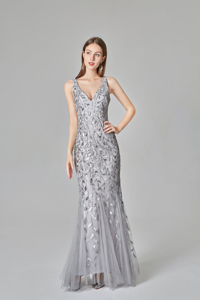 Sexy V Neck Silver Mermaid Prom Dresses, Embroidered Sequins Long Evening Dresses STI15368