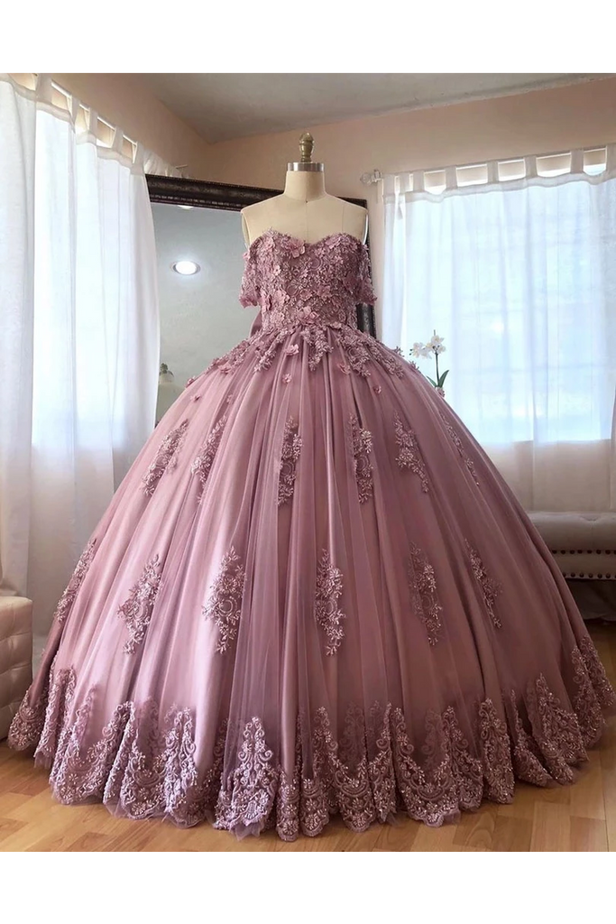 Ball Gown Off The Shoulder Tulle Quinceanera Dress With Lace Appliques Puffy Prom STIP3HM7KB3