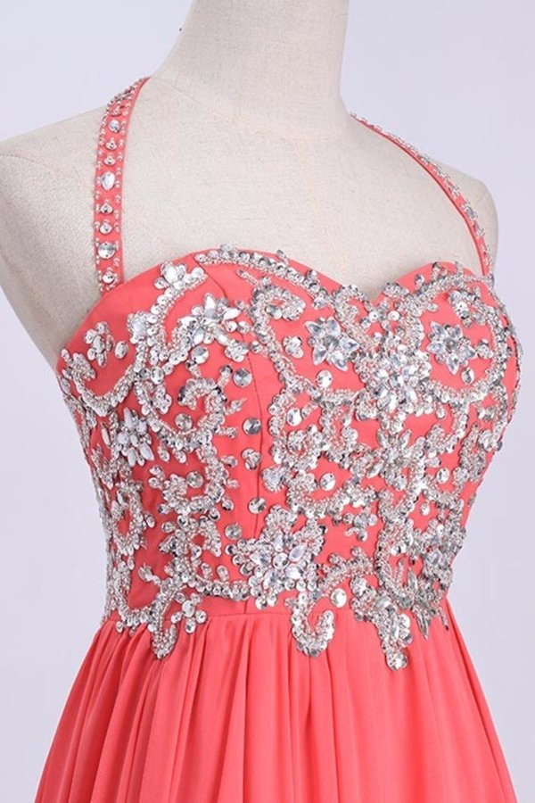 Hot Selling Prom Dresses Halter A-Line Floor Length Chiffon Color Watermelon PQKQB26D