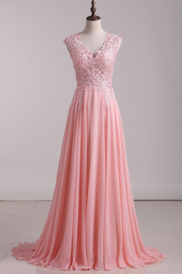 A Line V Neck Prom Dresses Chiffon With Applique Sweep PZA88TGN