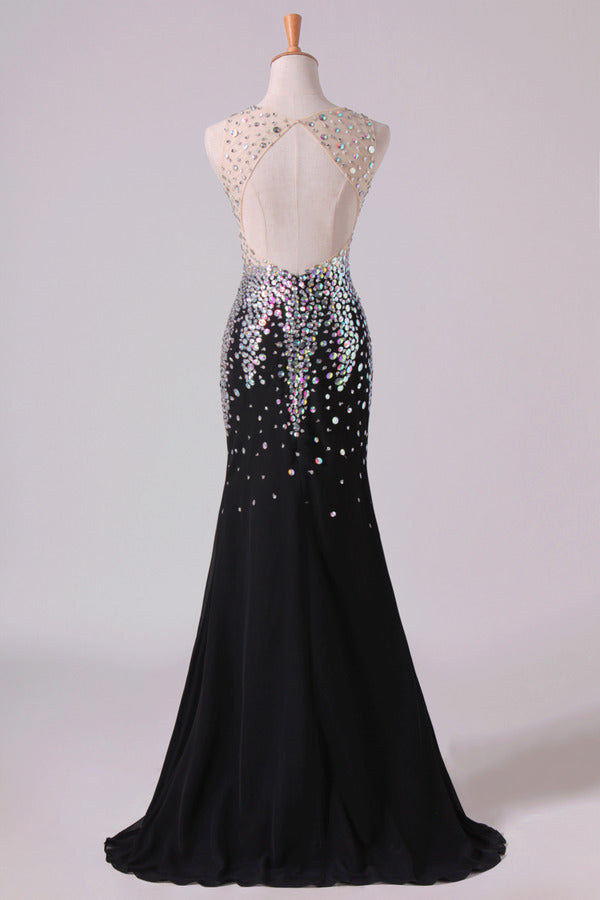 V Neck Prom Dresses Mermaid Chiffon&Tulle Sweep Train With PCPJFXCB