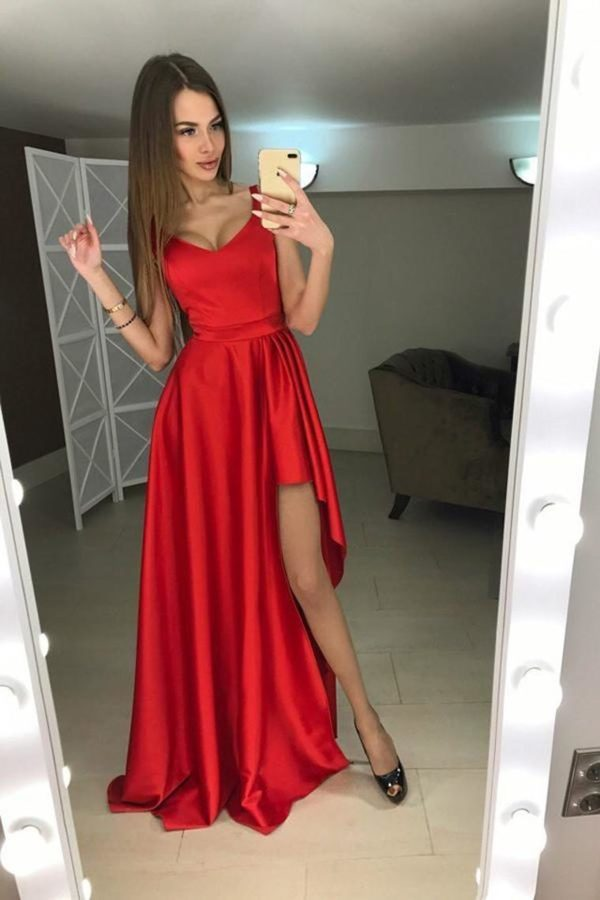 Vintage Red Simple Elegant Cheap Long Prom Dresses PYLKJECL