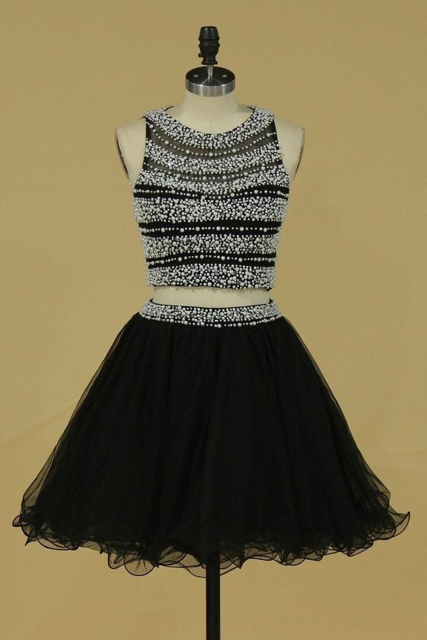 Two-Piece Open Back Scoop A Line Homecoming Dresses Tulle PHKT2HP1