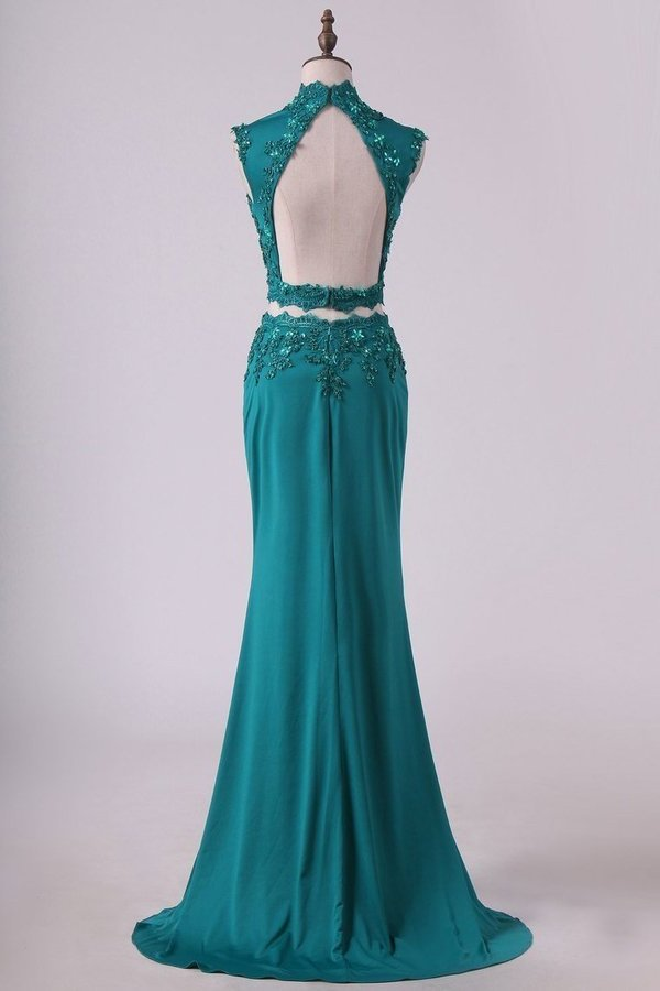 Two Pieces High Neck Sheath Prom Dresses With Applique PERA4NA6