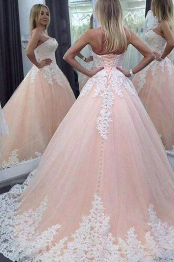 Stunning Sweetheart Floor-Length Appliques Lace up Strapless Ball Gown Tulle Wedding Dress