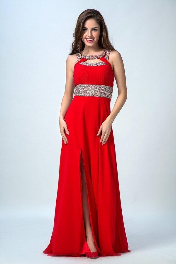 Sexy Prom Dresses A Line Scoop Sweep/Brush Red PGBFBP4B