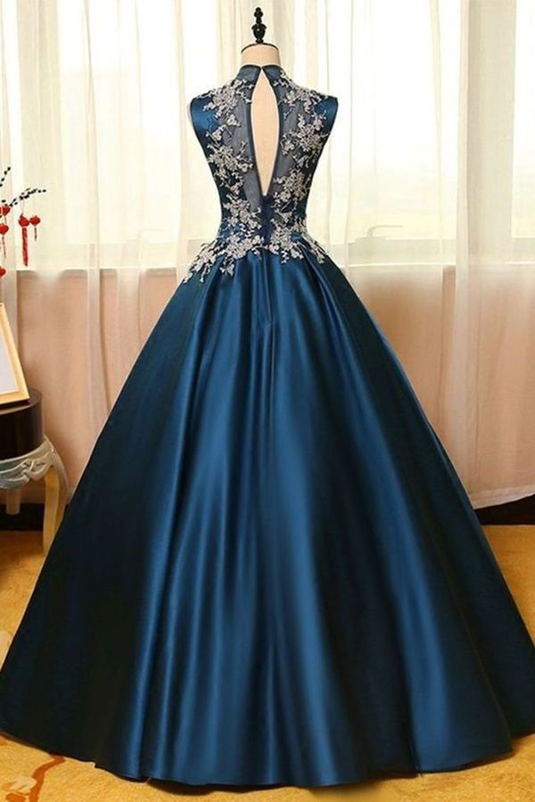 Sexy Open Back High Neck Prom Dresses A Line PN7YYQNS