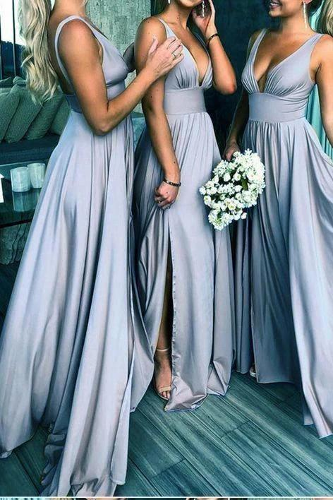 Elegant A Line V Neck Blue Straps Bridesmaid Dresses, Wedding Party STI15641
