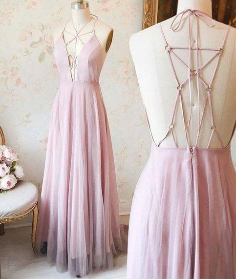 Sexy Pink V-Neck Long Chiffon Tulle Backless Sleeveless Floor-Length Prom Dresses