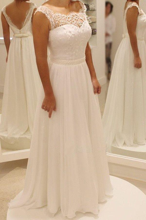 Simple A Line Backless Beach Wedding Dress Ball Gowns