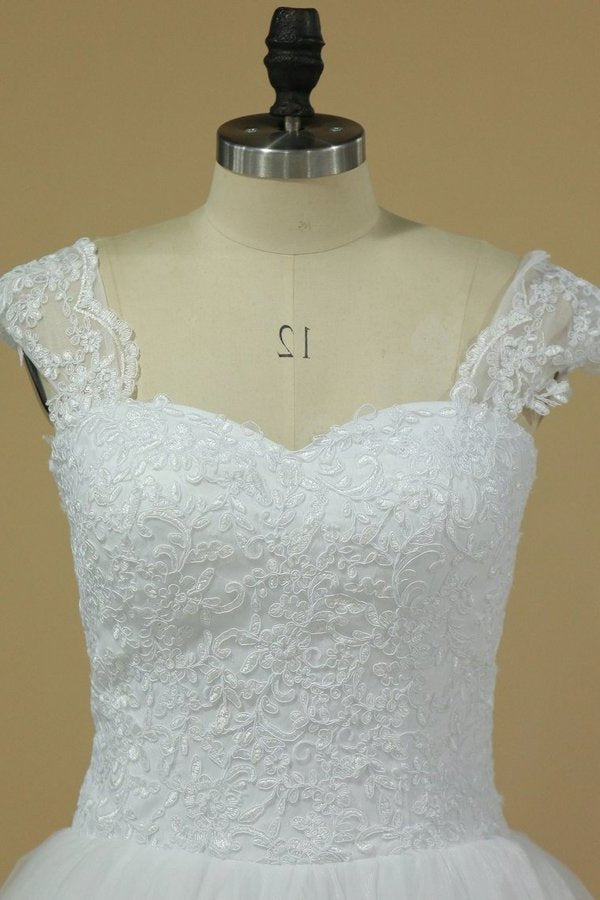 A Line Wedding Dresses Cap Sleeve With Applique PCJY48RX